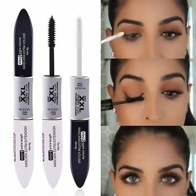 2 IN 1 Waterproof Silk Fiber Volume Double Effect Lengthening Curling Mascara US