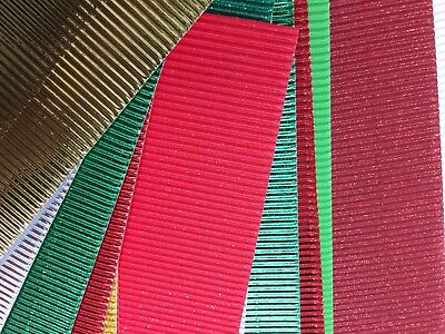 10 x Corrugated card sheets craft A4 metallic glitter VARIETY pack mixed colour
