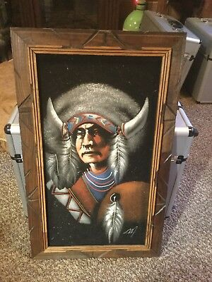 Vintage Black Velvet Painting Indian Native American Mexico Signed