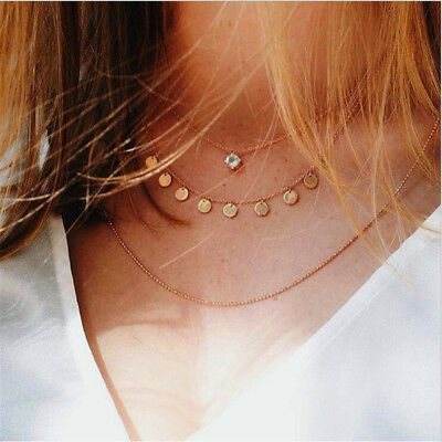 Women Fashion Crystal Multi-Layer Choker Collar Pendant Chain Necklace Jewelry