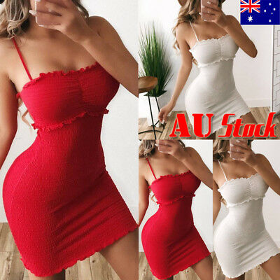 Women Sexy Bodycon Sling Mini Dress Party Cocktail Prom Club Bandeau Sun Dress