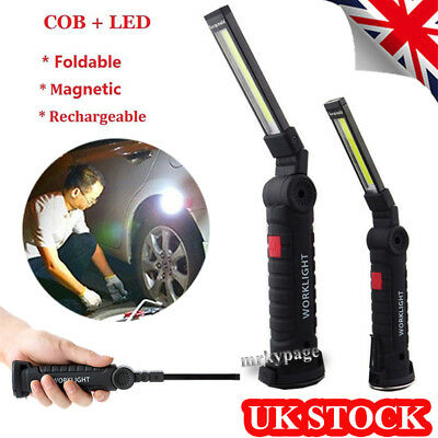 3 Modes LED COB Rechargeable Magnetic Torch Inspection Lamp Cordless Work Light