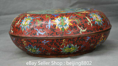 "12.8"" Qianlong Dynasty Old China Cloisonne Enamel Bronze Phoenix Jewelry box"