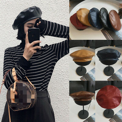 NEW Women Classic Faux PU Leather Warm French Fluffy Beanie Beret Hat Cap Cool