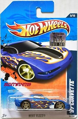 Hot Wheels 2011 Heat Fleet '97 Corvette Rot Fabrik Versiegelt Mit Autos, Lkw & Busse
