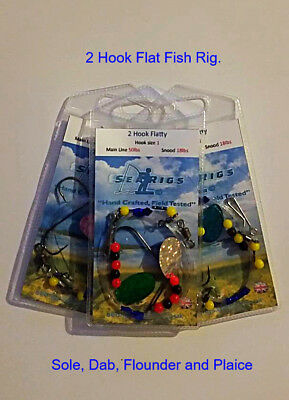 Sea fishing 2 Hook Flattie Rigs Size #2 Hooks x 3 Rigs - Hand Crafted by Searigs