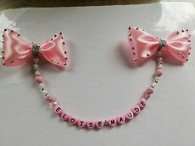 Personalised Pram Charms Bling Bow Girls And Boys