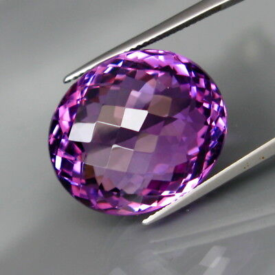 32.84Ct.Real 100%Natural GIANT Amethyst Bolivia Oval Checkerboard Eye Clean!