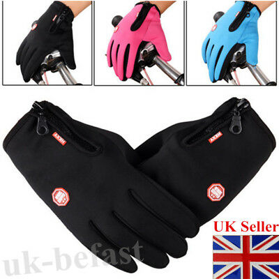 Lady Women/Men Touch Screen Winter Warm Thermal Waterproof Anti-slip Zip Gloves