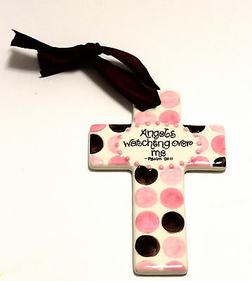 "Angels Watching Over Me-5""-Pink Ceramic Cross"