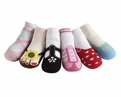 So Cute!  Jazzy Toes Socks- Girls Hamptons Variety Set-6 Pair- Size 0-12 Months