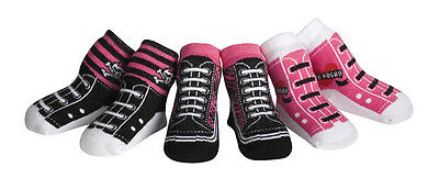 Jazzy Toes Rock Chick Kicks Socks-Gift Set-3 Pair-Size 12 to 24 Months-WAY COOL!
