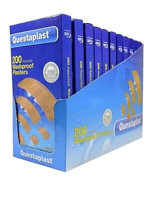 200 Breathable Large Assorted Washproof Plasters First Aid Non Stick Brand New