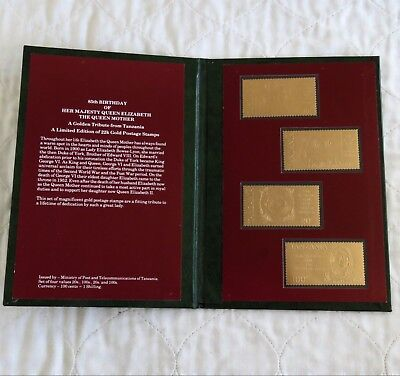 Tanzania 1985 Queenmother 22K Gold 4 X Postage Stamp Set