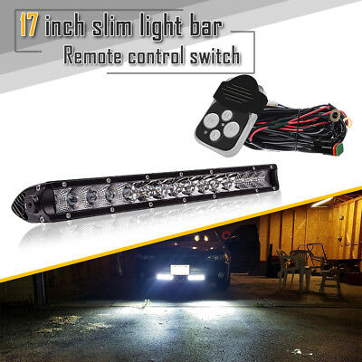 17inch LED Work Light Bar Flood Spot Combo Offroad Lamp w/ Remote Switch For ATV