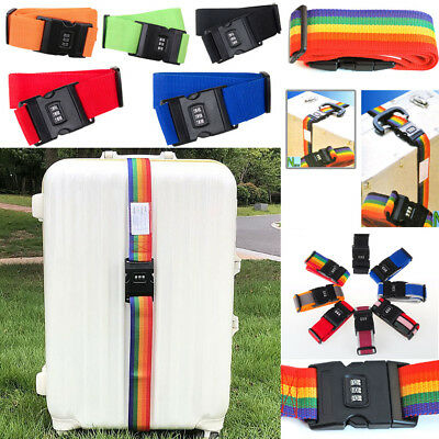 New Travel Suitcase Luggage Secure Password Code Lock Rainbow Belt Strap Band US