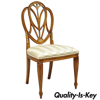 Mahogany Hepplewhite Style Plume Drape Carved Dining Side Chair Galimberti Lino