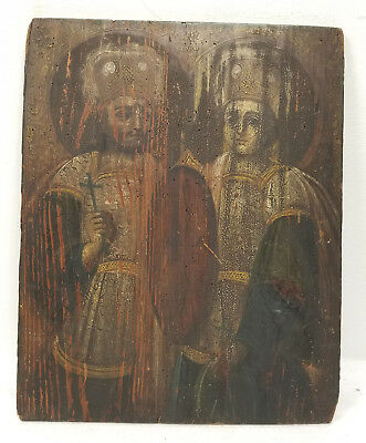 Antique Early Greek Russian Spanish Religious Icon Panel Orthodox Saints