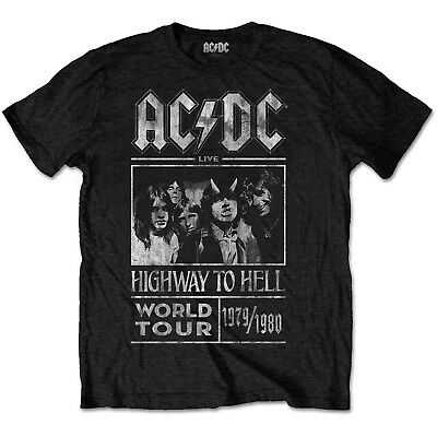 AC/DC Highway To Hell World Tour 79/80 Mens Rock Music T-Shirt Official Band Tee