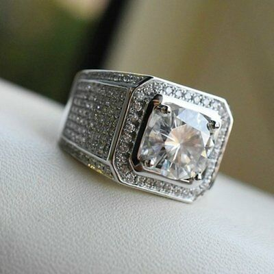Fashion Finger Ring Fine Crafted Metal Ring with Shiny Rhinestone Men Ring RA