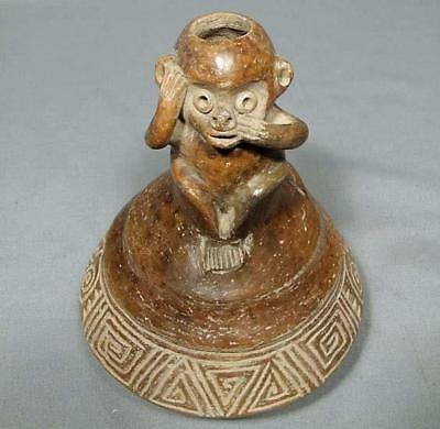 Ancient Pre-Columbian Chorrera 9th–5th century B.C.Ceramic Effigy Monkey Vessel