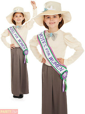 Girls Suffragette Costume Childs Wartime Fancy Dress Kids Book Week Day Outfit