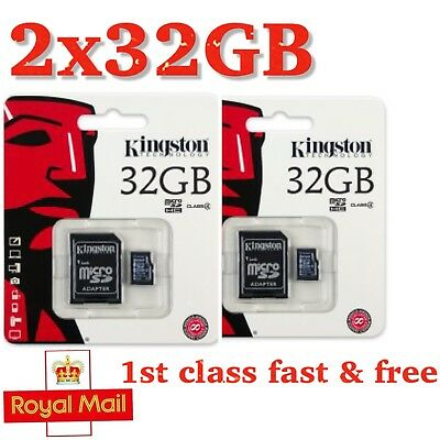 2x 32GB Kingston Micro SD SDHC memory Card Class 10 with SD card Adapter