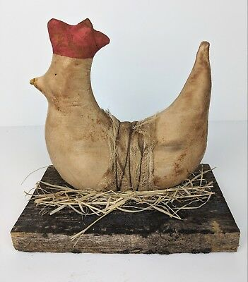 Primitive Country Stuffed Fabric Chicken on Wood Base  Farmhouse Decor