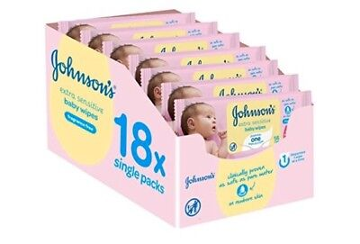 Free Delivery 18x Johnson's Baby Sensitive Wipes (1008 wipes total) £0.83 p/pack