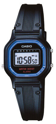 Casio Women's Quartz Digital Black Blue Accented Resin Band Watch LA11WB-1