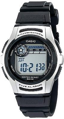 Casio Men's Quartz 10-Year Battery Black Resin Band 40mm Watch W213-1AV