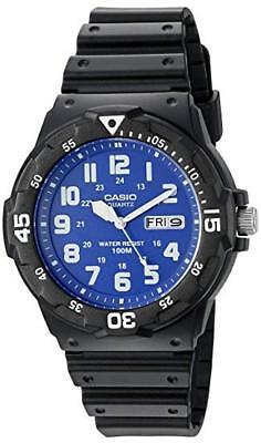 Casio Men's Quartz Diver Blue Face Black Resin Band 44mm Watch MRW200H-2B2V