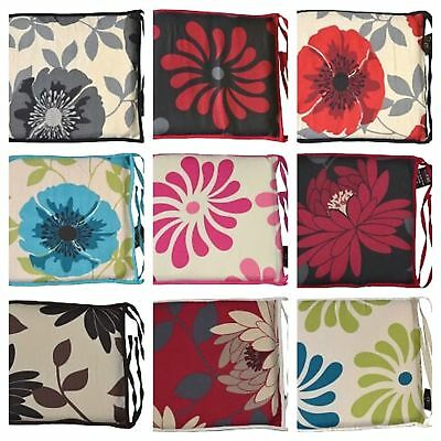 Floral Chair Seat Pads With Strong Ties Zipped Cushion Pads Kitchen Dining Patio