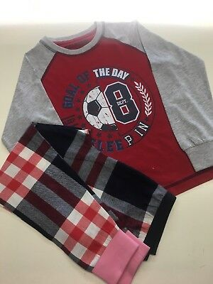 Age 7 Football Pjs. With Pink Cuff Ideal For A Little Tomboy