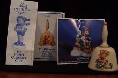 1983 Sixth Edition Hummel Annual Bell in Bas Relief with Box and Pamphlet
