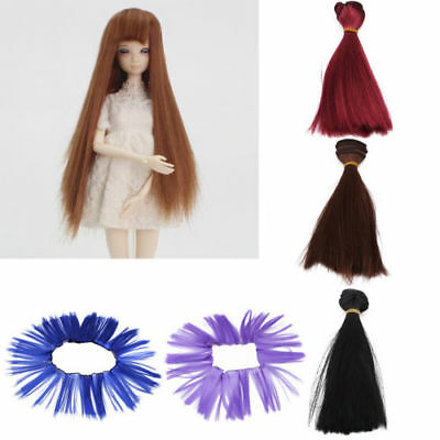 15*100cm Heat Resistant Long Straight Doll Wigs Synthetic Hair for Dolls Girl HS