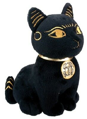 "NEW 10.5"" Soft Black Bastet Egyptian Cat  Gold Collar Scarab Large Plush 1131"