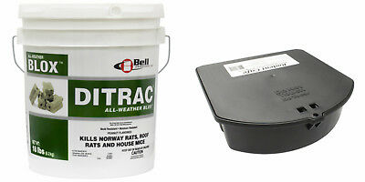 Rat Mouse Baiting Kit - Ditrac All Weather Blox 18 Lbs + 6 Rodent Bait Stations