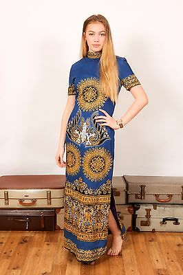 60s vintage blue white & gold indian ethnic high neck maxi dress