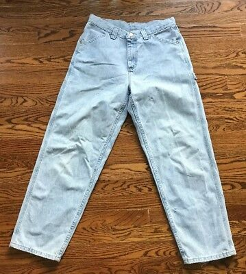 678b76a22 Vintage 90s High Waisted Lee Riveted Light Wash Carpenter Wide Leg Jeans  Womens