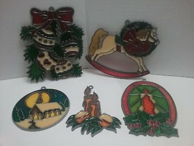 Lot 5 Colored Stained Glass Style Vintage Christmas Ornament Horse Wreath Church
