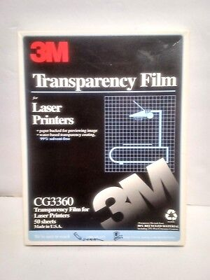 "46 NEW Sheets 8 1/2 / 11""  3M Transparency Film for Laser Printers, CG3360"