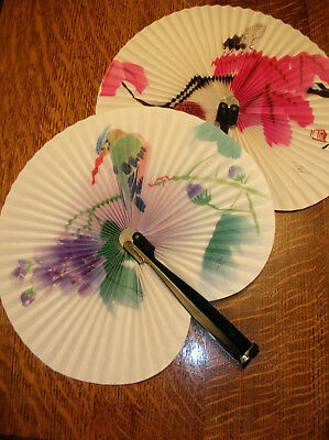 2 Vintage Fold Up Hand Fans Made In The People's Republic Of China -Beautiful