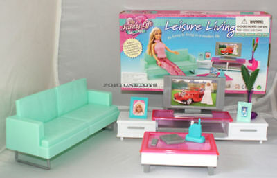 FANCY LIFE DOLLHOUSE FURNITURE Leisure Living Room w/Entertainment For Barbie
