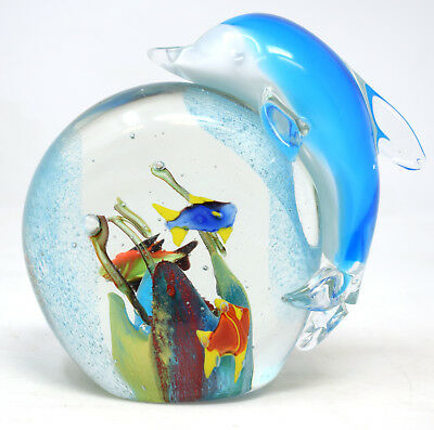 Objets D'art Glass Blue Dolphin Paperweight Fish Collectors Gift Boxed Bathroom