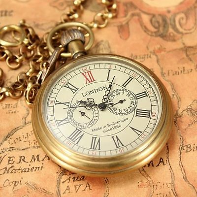 Antique 2 Sub-dials Switzerland Wind Mechanical Pocket Watch Luxury Men's Gift