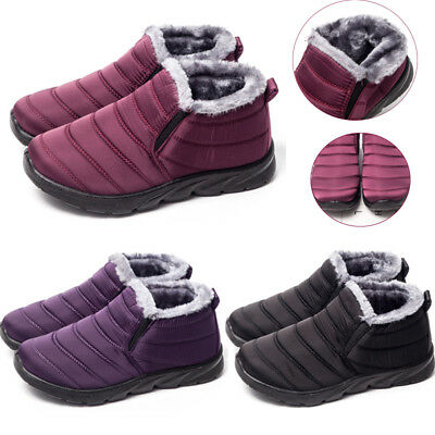 New Womens Ladies Fur Lined Winter Warm Snow Boots Waterproof Slip On Flat Shoes
