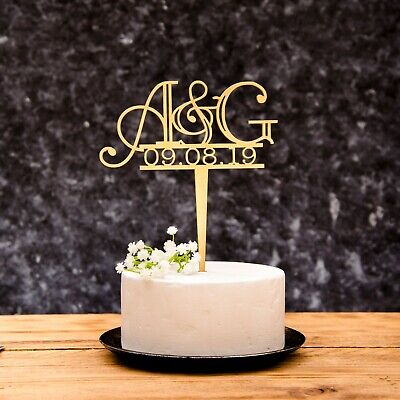 Personalised Calligraphy Mr and Mrs Wedding Cake Topper Gold, Silver, Rose Gold