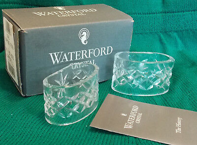 Waterford Crystal ALANA Boxed Set of 2 Oval Napkin Rings Excellent