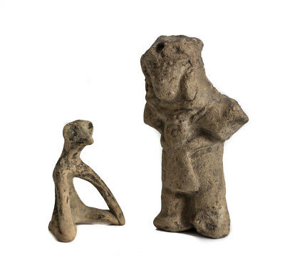 Pre-Columbian Pottery Figures, one bird-like seated and standing figures